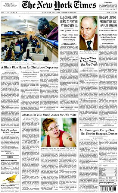 front page, New York Times, September 9, 2003, Medals for His Valor, Ashes for His Wife