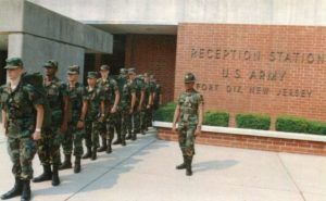 Drill Sergeant with new recruits at Ft Dix NJ circa 1985